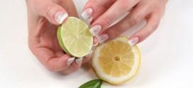 عصير الليمون لأظافر ناصعة البياض