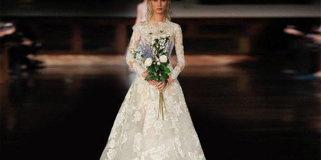 أحدث فساتين زفاف بأكمام 2018